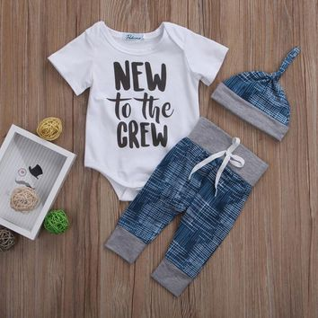 New to the Crew Newborn Onsie + Pants Hat 3pc Outfit
