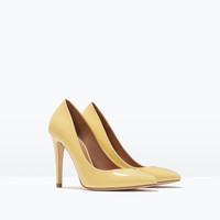 Faux patent leather high heel court shoe