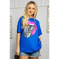 Jet Blue Boat Neck Graphic Knit Tee