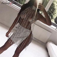 Women Rhinestone Nightclub Mini Dress Choker Halter Gold Silver Tassel Diamond Chain See Through Hollow Out Mini Dress