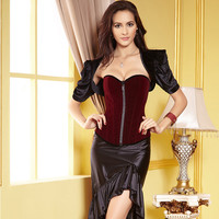 Body Waist Shaper Sexy Suede Palace Zippers Corset [4965284612]