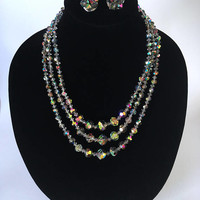 Vintage Mid Century Aurora Borealis Demi Parure, Iridescent 3 Strand Crystal Necklace and Cluster Clip On Earrings