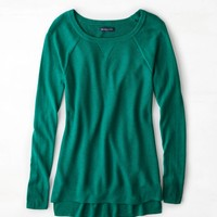 AEO Waffle-Knit Sweater, Jade | American Eagle Outfitters