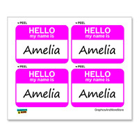 Amelia Hello My Name Is - Sheet of 4 Stickers
