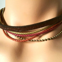 FREE SHIPPING-Woman Bracelet, Natural Country Jewelry, Real Leather. Beads, Cotton Ropes and Chains.