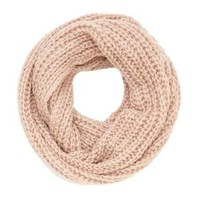 Metallic Chunky Knit Infinity Scarf by Charlotte Russe - Blush