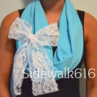 Mint Lace Bow Infinity Scarf