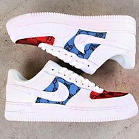 NIKE AIR FORCE 1 X GUCCI Women Men Print Shoes  Letters Print Blue Red White Shoes