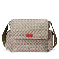 ONETOW Gucci Strawberry Print GG Canvas Diaper Bag Beige Multicolor New