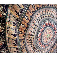 Indian Spear Mandala Tapestry Wall Hanging Red Green Blue Bedspread
