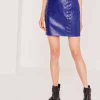 Missguided - Whipstitch Front Faux Leather Mini Skirt Cobalt Blue