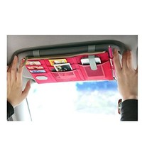 SIMMER Multi-function Colorful Auto Car Visor Vehicle Sun visor Storage /Tissue Bag Holder A09-4-012(PINK)