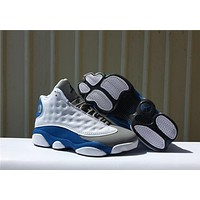 Air Jordan 13 Retro White/Blue/Gray Sport Sneaker Shoe 36-47