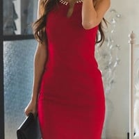 Red V-Neck Pearl Bodycon Mini Dress