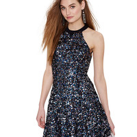 Sequined Halter Backless Mini Skater Dress