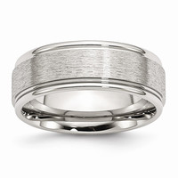 Men's Stainless Steel Grooved Edge Brushed and Polished Wedding Band Ring: RingSize: 8