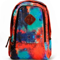 "ZLYC Fashion Unisex Universe Neon Galaxy Pattern Print Casual School Travel 13"" Laptop Backpack Daypack Tablet Bags Student Schoolbag Orange"