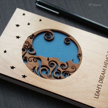Personalized Notepad with Wood Cover - Custom Memo Pad - Moon and Stars - Night Sky