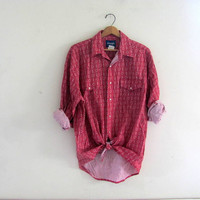 70s western Wrangler shirt. button down shirt. red tie up shirt. size large