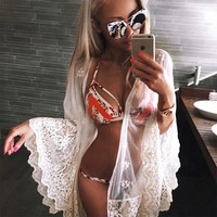 Almostlover1209 Lace Pareo Beach Cover Up Sexy Transparent White Robe De Plage Swimsuit Women Cover-Ups Pareo Beach Dress Summer