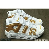 Nike Air More Uptempo men and women tide brand fashion shoes F-HAOXIE-ADXJ White + golden letters