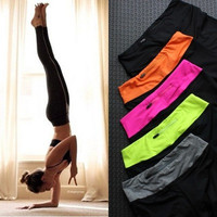 Yoga Sports Pants Gym Jogging Stretch Quick Dry Slim Cropped Pants [6358690180]