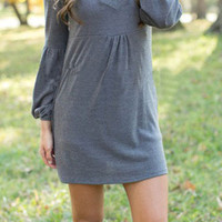 Grey Lantern Sleeve Cut-out Neckline Knit Dress