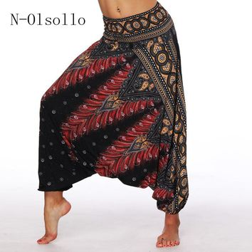 N-olsollo Black 3D Palazzo Dot Harem Pants  Vintage Wide Leg Trousers Yuga Sporting Loose Bottom Elastic Waist Bohemia Pants