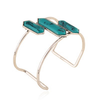 Turquoise Bangles Bracelets Simple Stone Open Bracelet  Alloy Natural Stone Bangle 2015 Trendy Jewelry For Women Gift