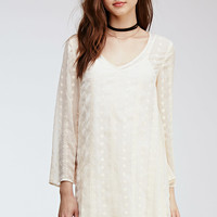 Embroidered Sheer-Woven Shift Dress