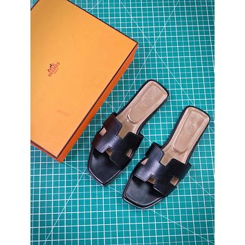 Hermes Oran Sandals With Leather Sole Slip-on Black