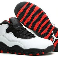 New Air Jordan 10 Retro Kids Shoes White Black Red