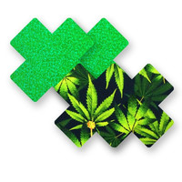 Marijuana Glitter and Print X Pasties (2-Pack)