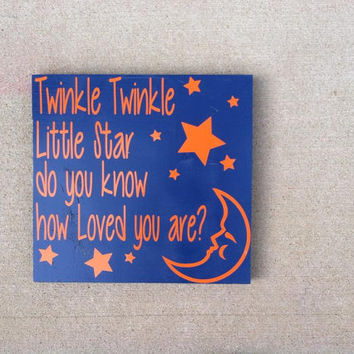 Twinkle Twinkle Little Star Do You Know How Loved You Are 10x10 Wood Sign