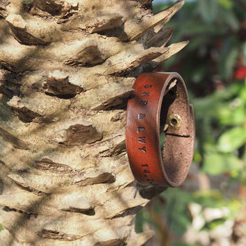 Personalized Leather Cuff Bracelet #Brown