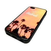 For Apple iPhone 5C 5 C Case Cover Skin Hipster Hawaii Hang Loose Surfer Surfing Surf DESIGN BLACK RUBBER SILICONE Teen Gift Vintage Hipster Fashion Design Art Print Cell Phone Accessories