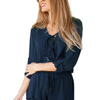 Long Sleeve Chiffon Romper With Drawstring
