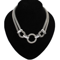 Silver Circle Link Mesh Chain Statement Necklace Women Choker Necklaces & Pendants Summer Style Punk  Jewjlry For Gift Party