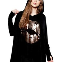 Plus Size Black Hooded Long Sleeve Top