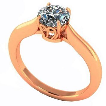 Unique Engagement Ring 1 carat Yellow gold Swirl Prongs Trellis Diamond Solitaire Ring 14K Solid Rose Gold
