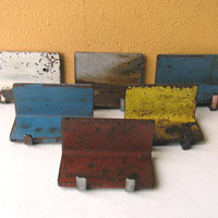 Red or Yellow Business Card Smartphone Holder, Industrial Home and Office Decor, Distressed Desk Accessory