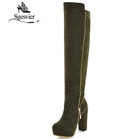 SGESVIER Women Boots Over The Knee Fashion Boots 2017 Winter High Heel Zipper Platform Shoes Plus Size 34-43 Lady Shoes OX099