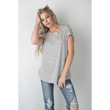 Charcoal and White Striped Top with Zipper Back