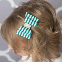Green hair bow, emerald stripe hair bow