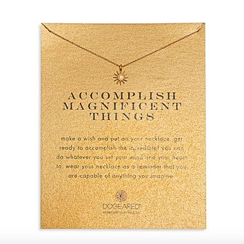 Dogeared - Accomplish Magnificent Things Starburst Necklace, Gold Dipped