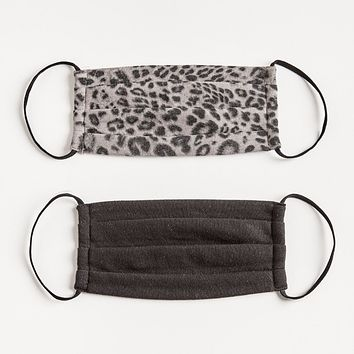 Z Supply - Grey Leopard Face Mask (Pack of 2)