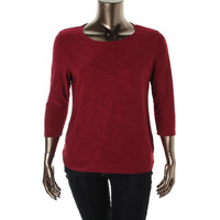JM Collection Womens 3/4 Sleeves Textured Blouse