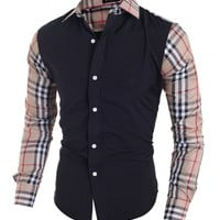 Casual Mens Single Breasted Patchwork Plaid Blouse