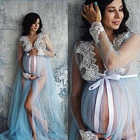 V-Neck Hollow out Maternity Dresses