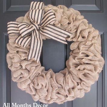 Burlap Wreath with Black Stripe Burlap Bow, Country, Spring Easter Fall Winter, Year Round, Fall, Porch Door Decor